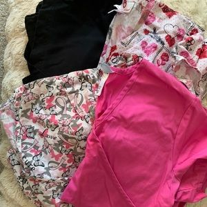 Love Pink Scrub Top Bundle Size XS-S